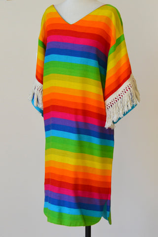 1970s Umbrella Striped Hippie Chic Mini Dress Tunic Cover-Up with Fringe