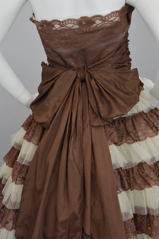 Betsey Johnson 50s Style Brown Tiered Lace Party Prom Pinup Dress