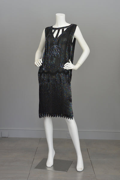 Modern Does 20s Black Beaded Keyhole Neckline Deco Dress
