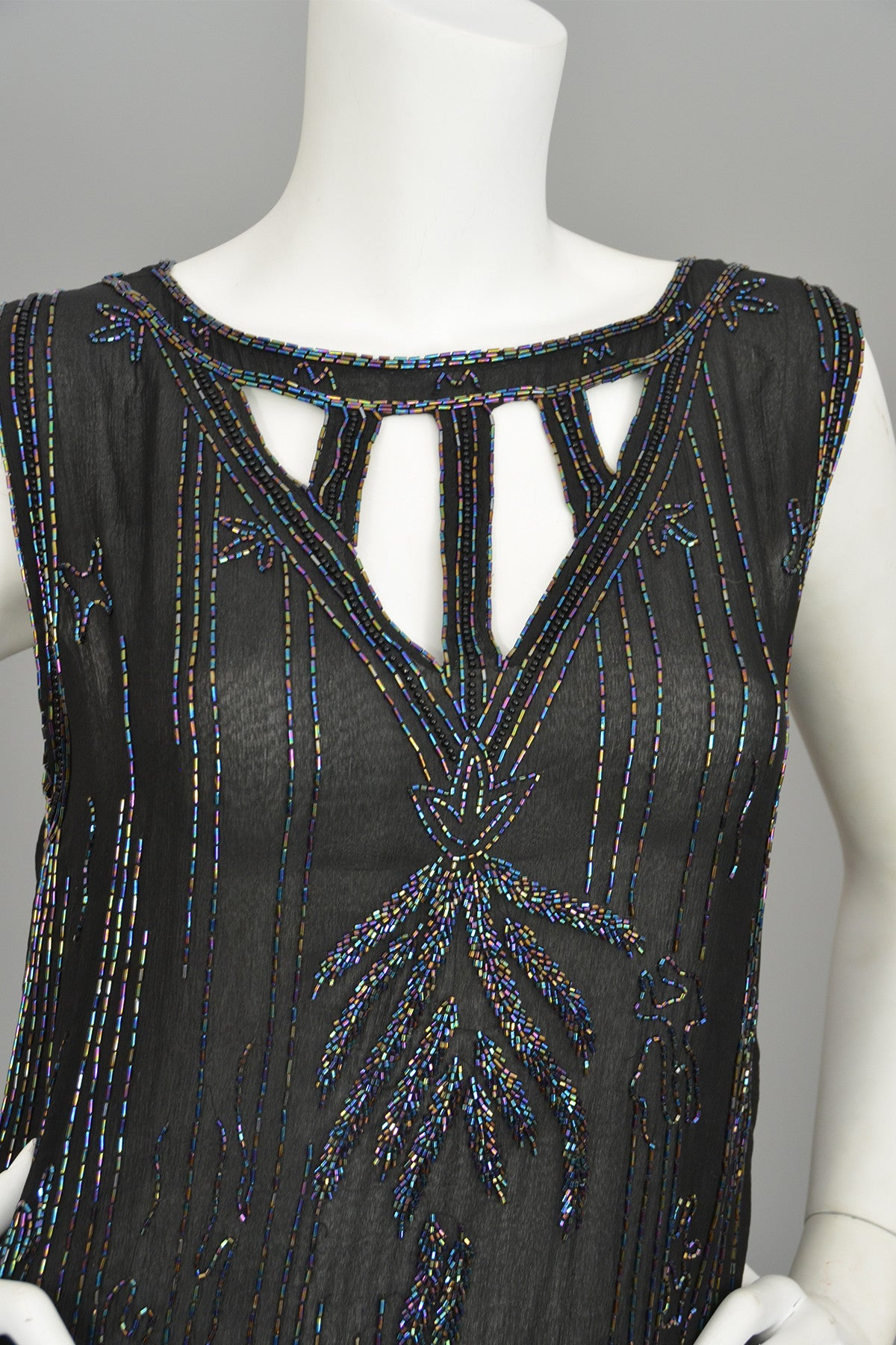 Modern does 20s Black Beaded Keyhole Neckline Deco Dress Flapper Style Dress