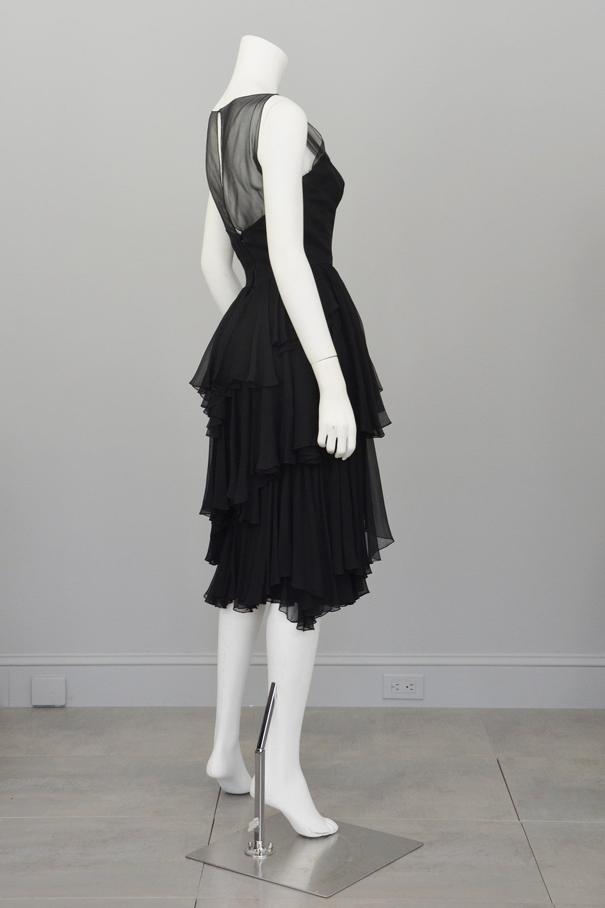 Vintage 1960s Black Chiffon Tiered Skirt Cocktail Dress