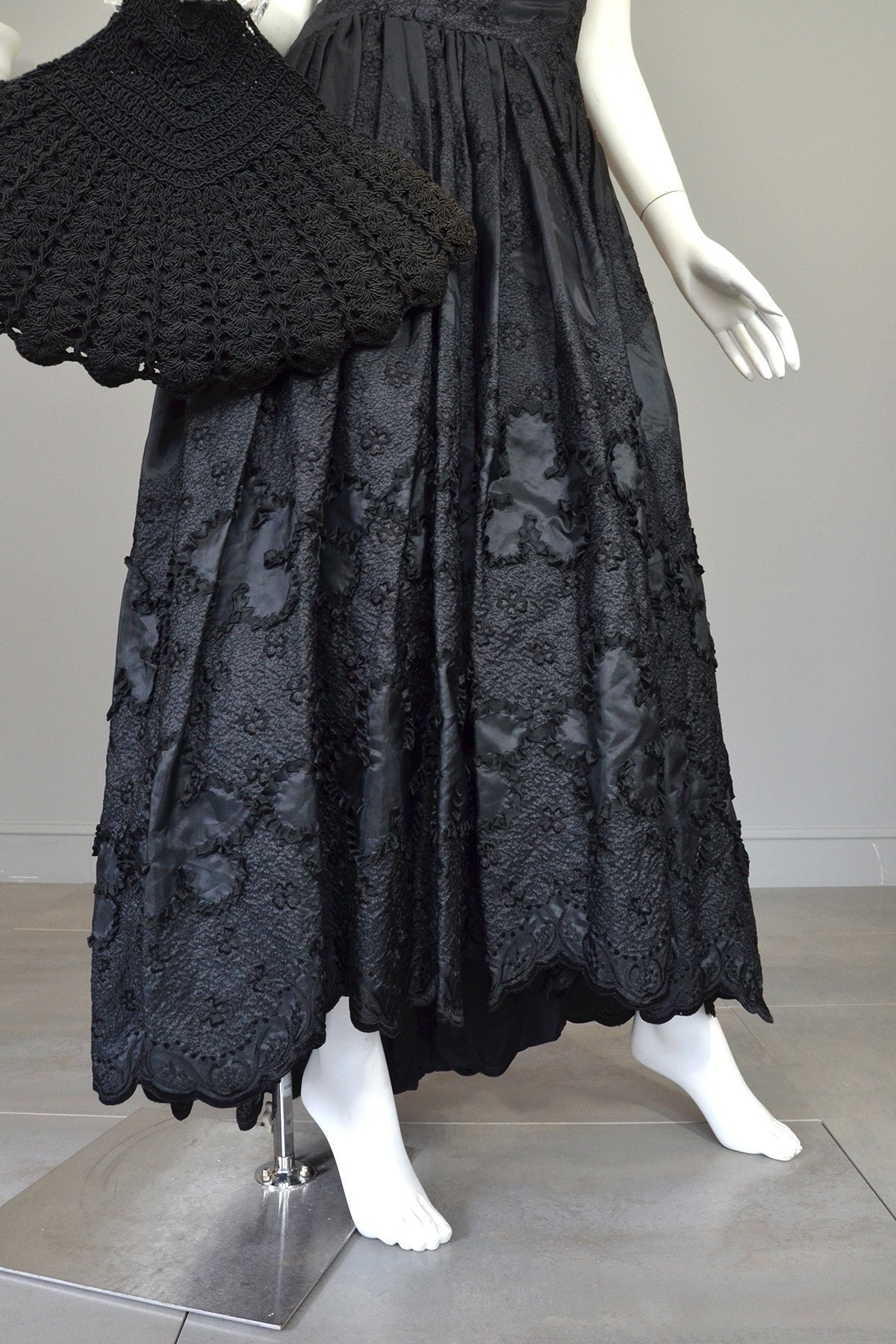 1970s 80s Black Embroidered Ruffle Neckline Evening Gown