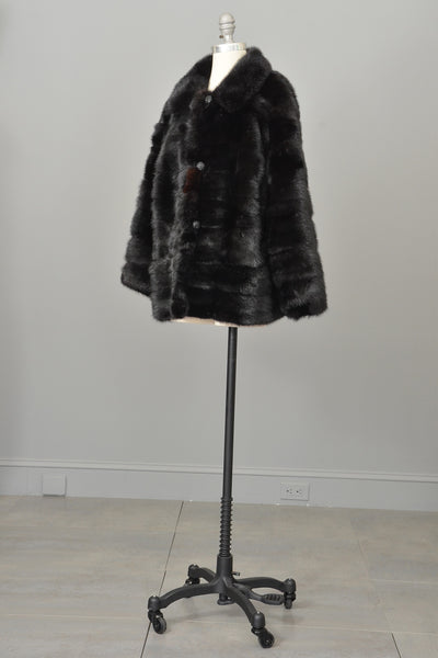 70s 80s Black Mink Fur Jacket