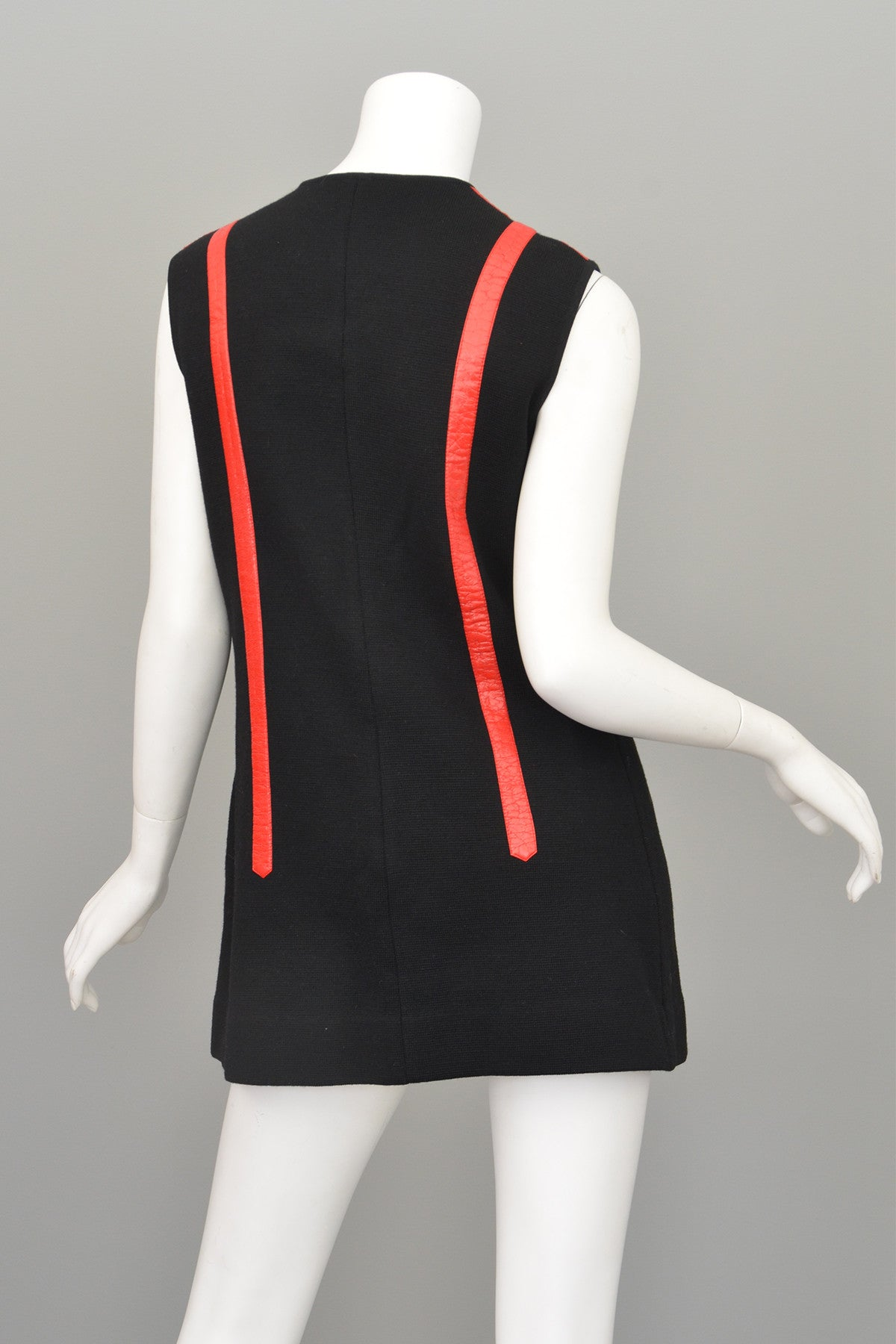 Vtg 1960s Black Knit Red Leather MOD Vest Tunic by Gina Teresa