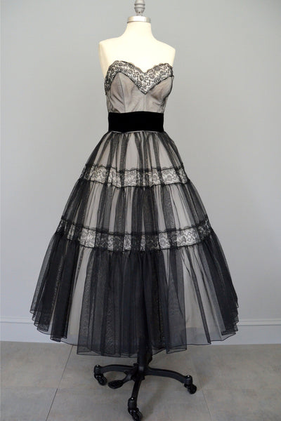 Layaway 1950s Black Lace and Chiffon Party Prom Dress