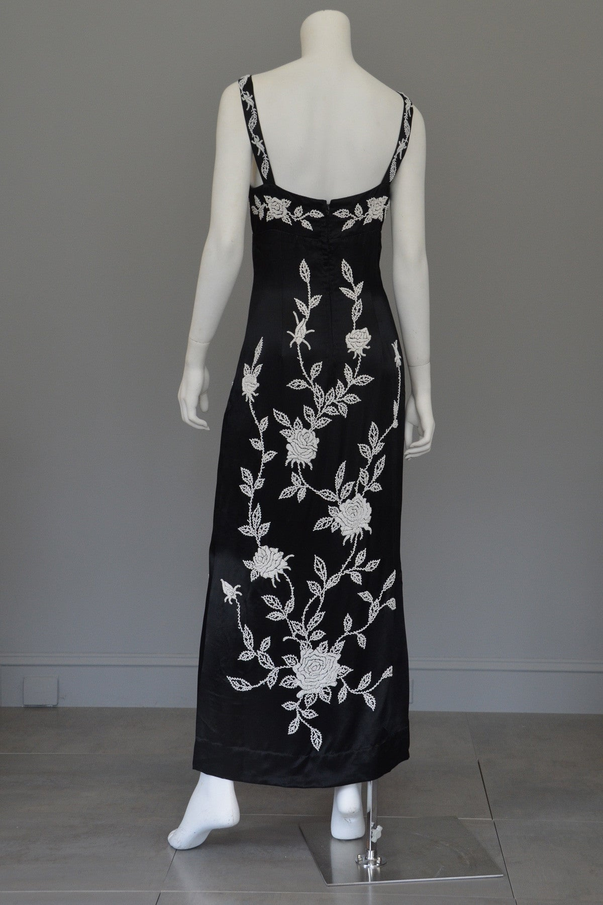 1960's 70's Silk Sheath Dress with Intricate Seed Bead Floral Design