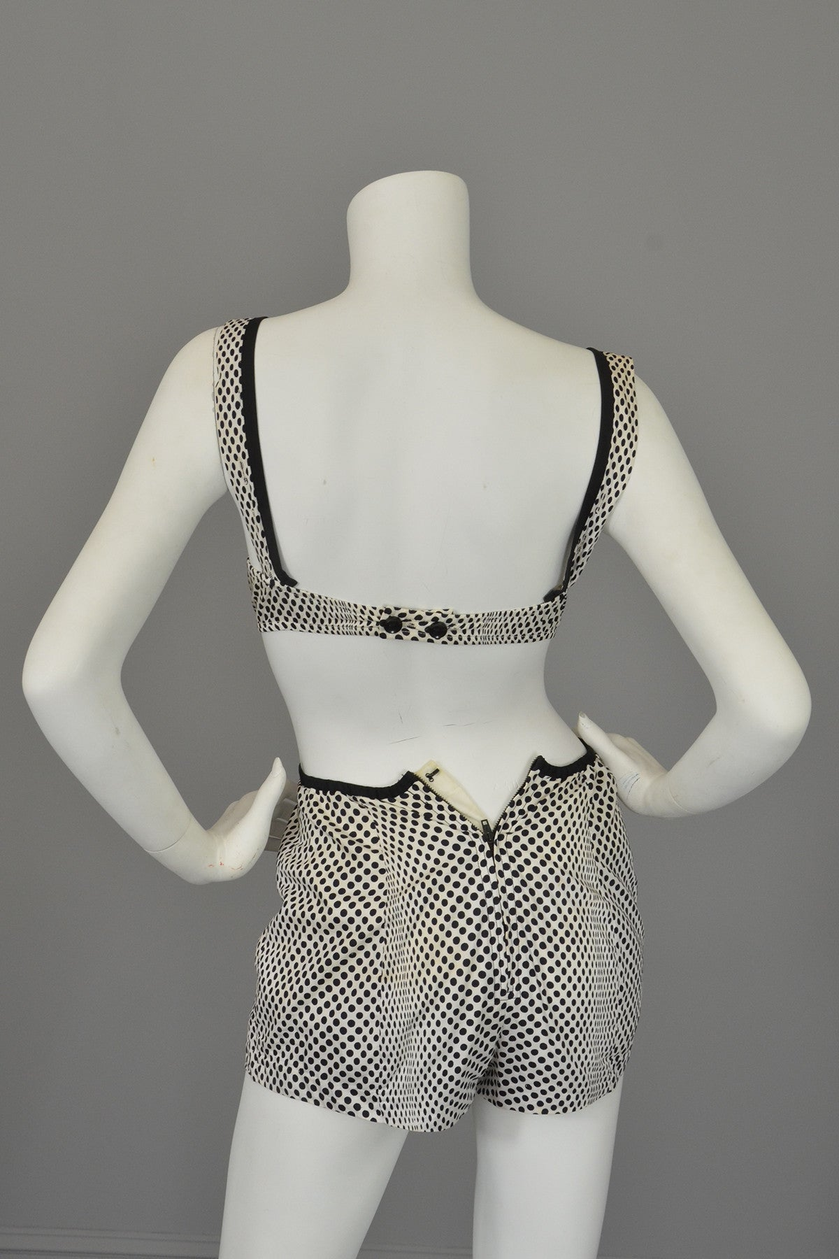 1960s Black White Polka Dot Pinup Swimsuit and matching Bull's Eye Cover-Up by Rose Marie Reid