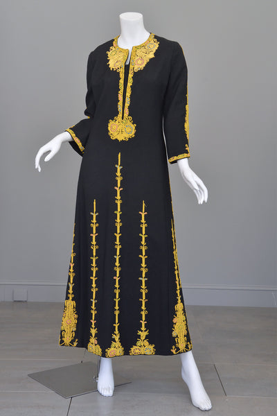 1970s Black Wool Gold Embroidered A-Line Caftan Maxi Dress