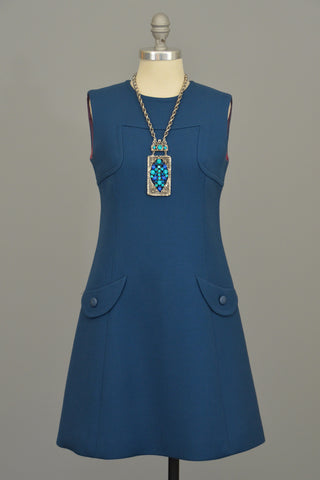 1960s A-Line Mod Blue Vintage Mini Dress