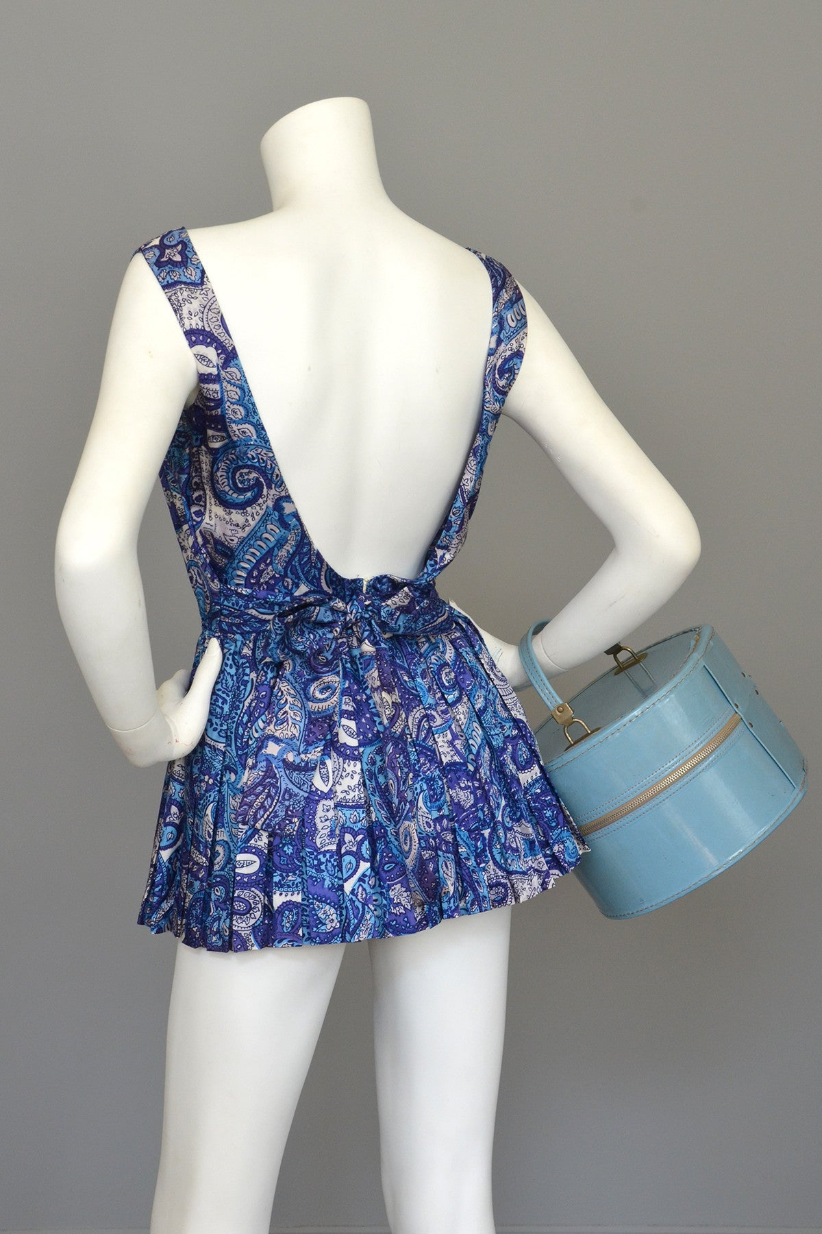 db64907c8bec8 1950s Blue Paisley Vintage Pinup Romper Bathing Suit Playsuit ...