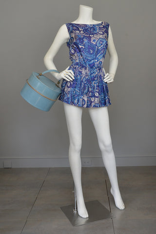 1950s Blue Paisley Vintage Pinup Romper Bathing Suit Playsuit
