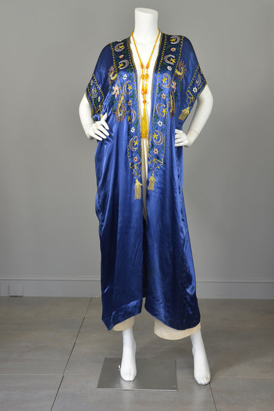 Vintage Blue Satin Embroidered Tassels Duster Maxi Vest