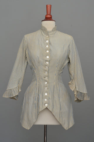 Victorian Bustle Jacket Blue and White Striped, Incredible Bustle