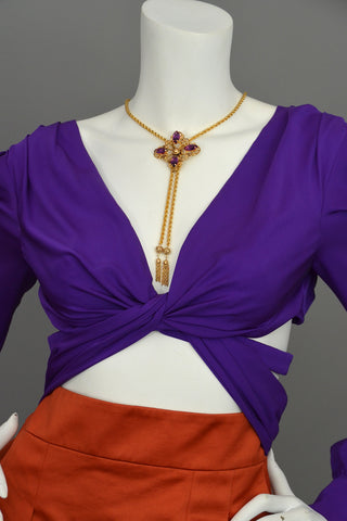 Carl Art Purple Stone Lariat Fringe Necklace