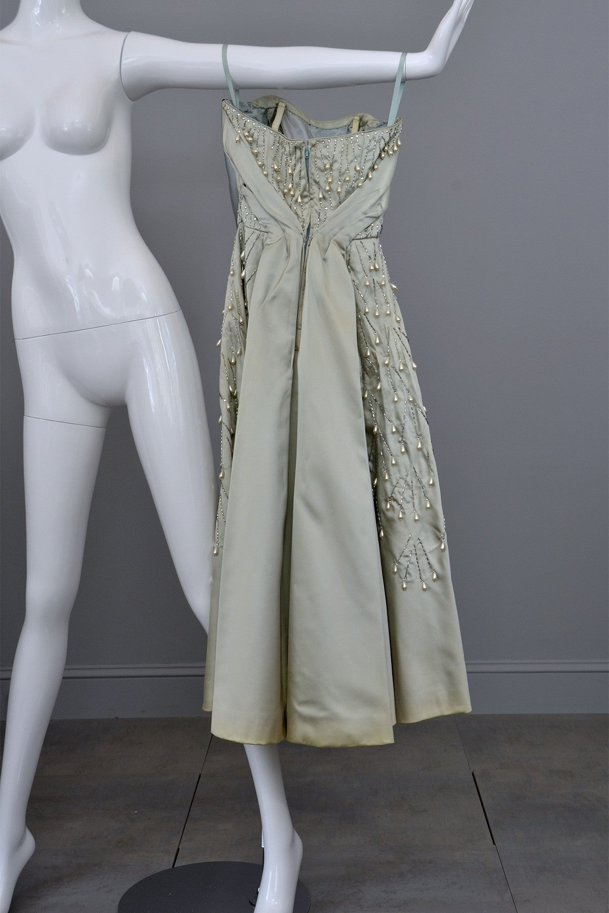 1950s Ceil Chapman Pearl Drops Rhinestones Vintage Party Dress