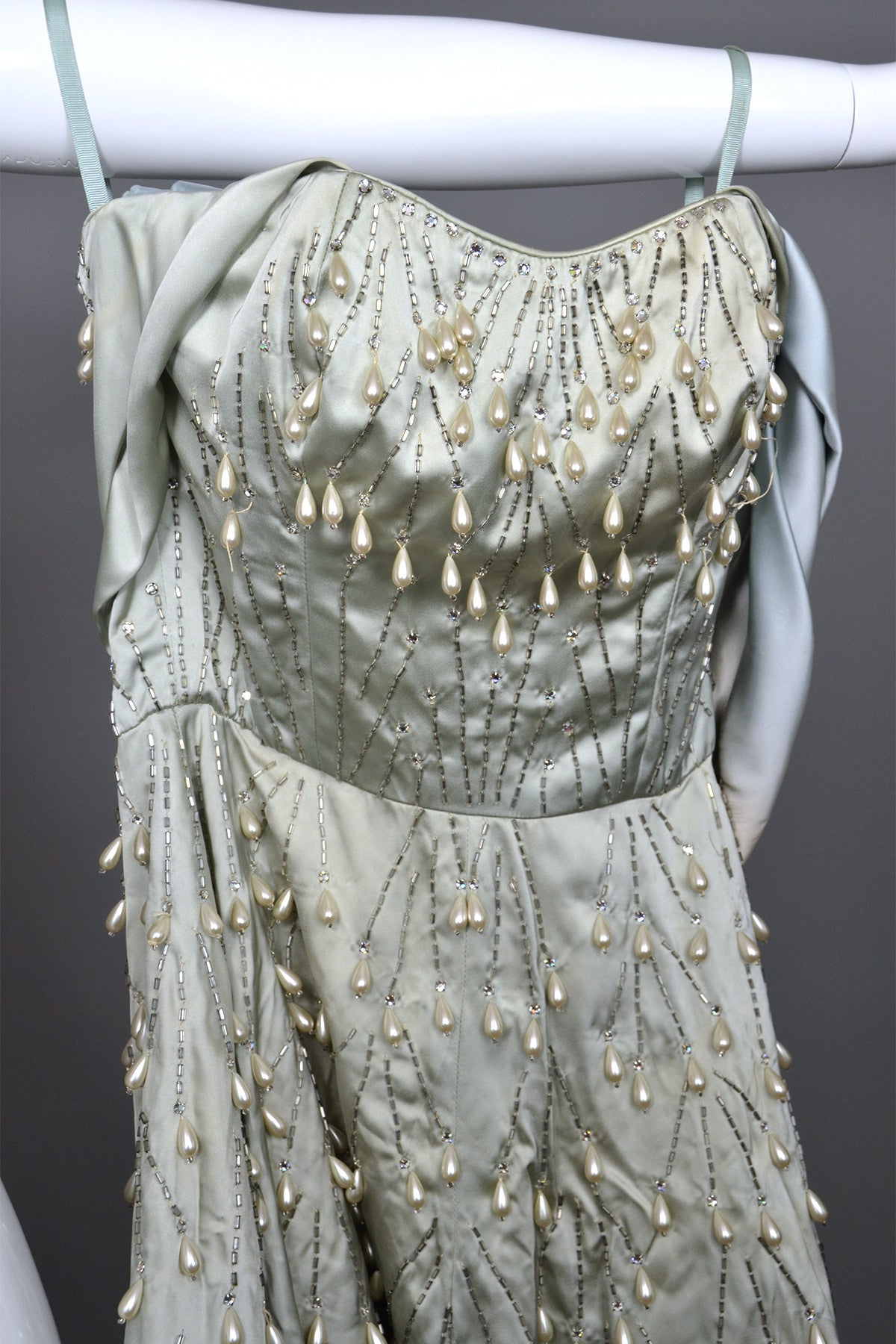 Superior 1950s Ceil Chapman Pearl Drops Rhinestones Vintage Party Dress