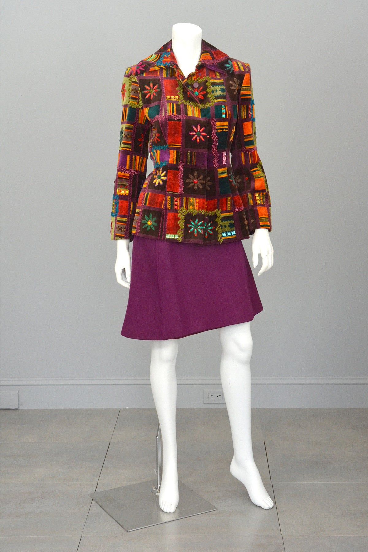 Christian Lacroix Beaded Patchwork Velvet Jacket Blazer