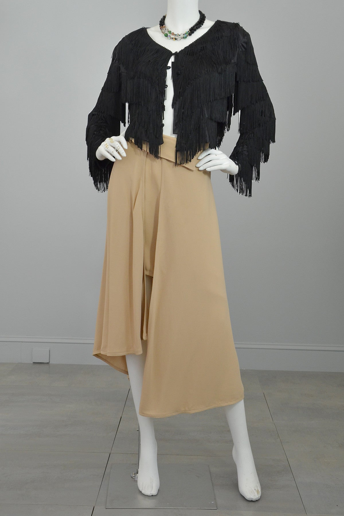 Black Silky Fringe Cropped Jacket -  Reserved