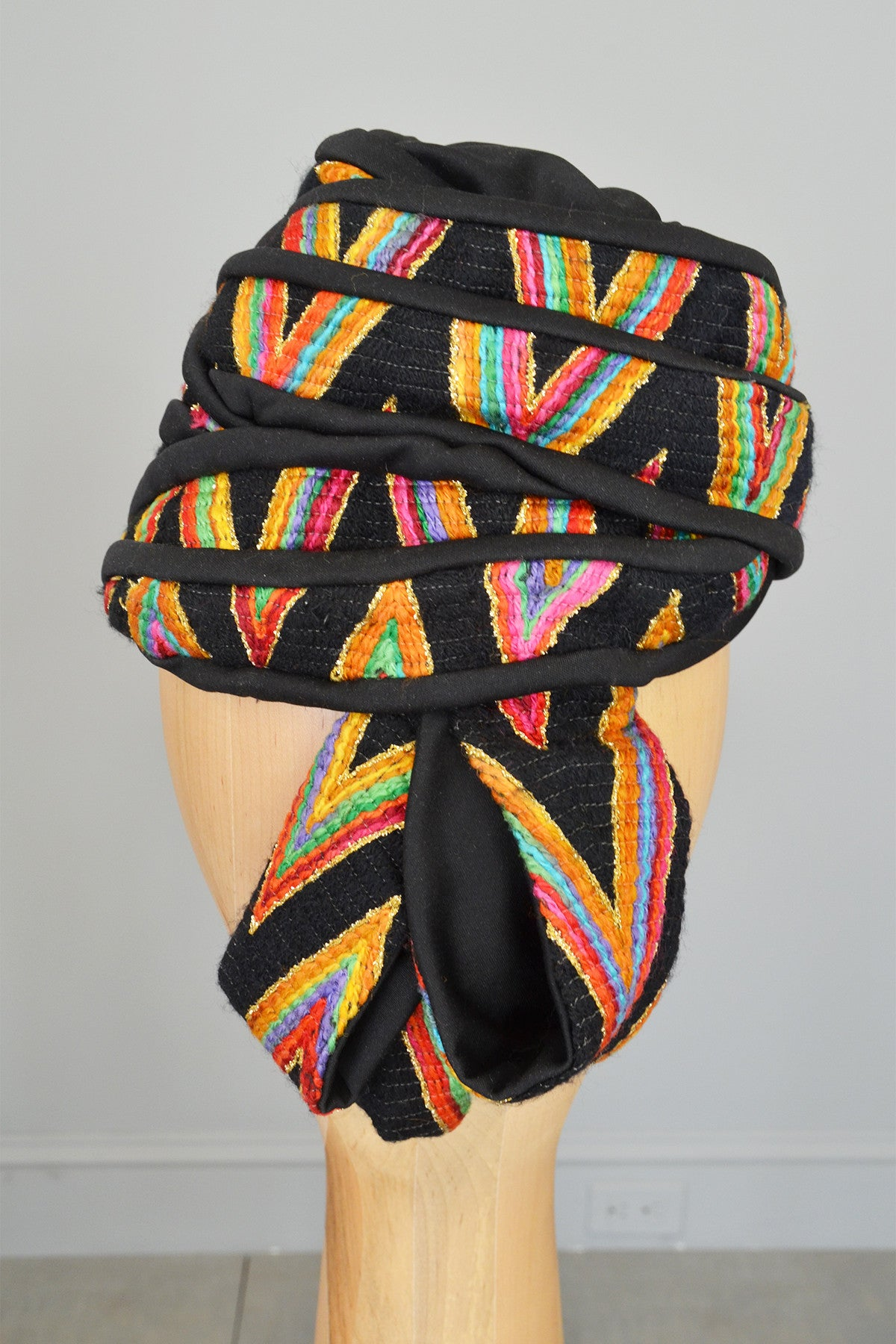 1950s Colorful Rainbow Chevron Weave Vintage Beehive Turban Hat