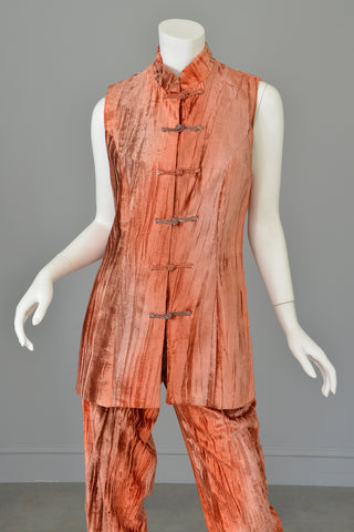 Crushed Velvet Rose Gold Copper Tunic Vest and Pants