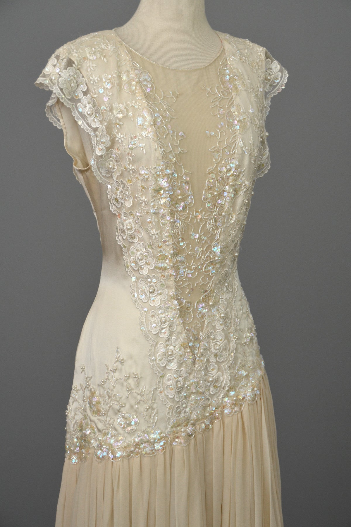 Vintage 80s 90s Beaded Lace Silk Chiffon Flapper Dress