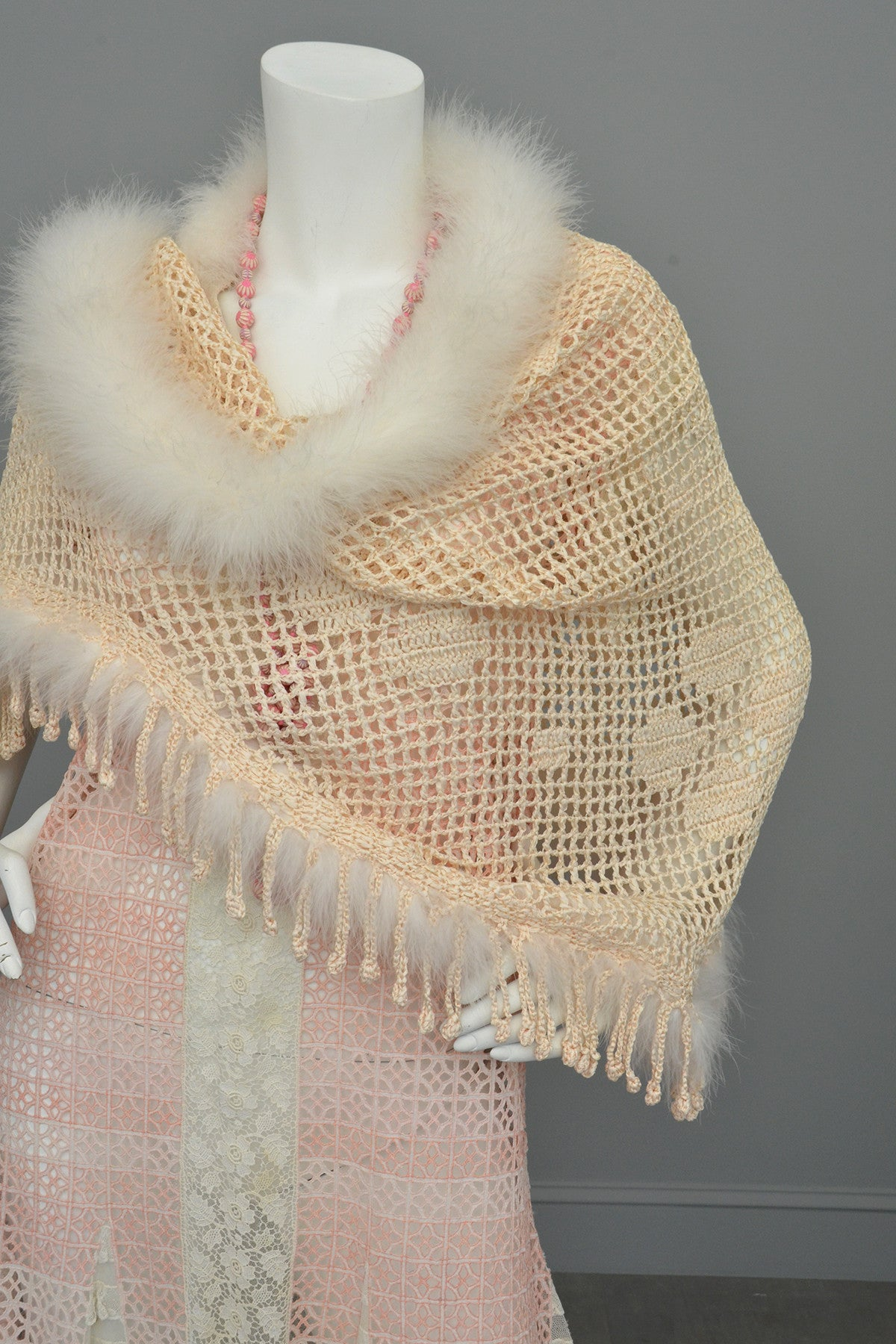 Crochet Feather Trim Fringe Shawl