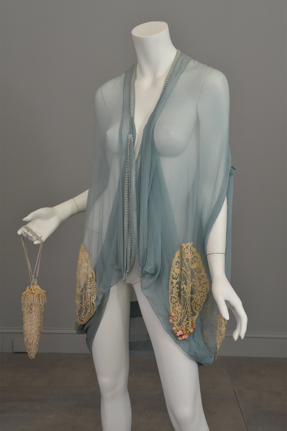 1920s Deco Aqua Blue Sheer Silk Cocoon Duster Vest with Beads, Lace and Flowers