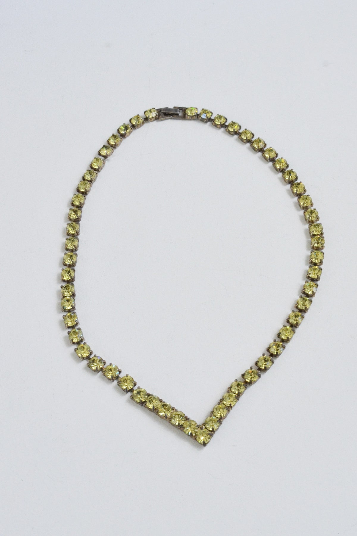 Deco Citrus Lemon Yellow Crystal Chevron Necklace