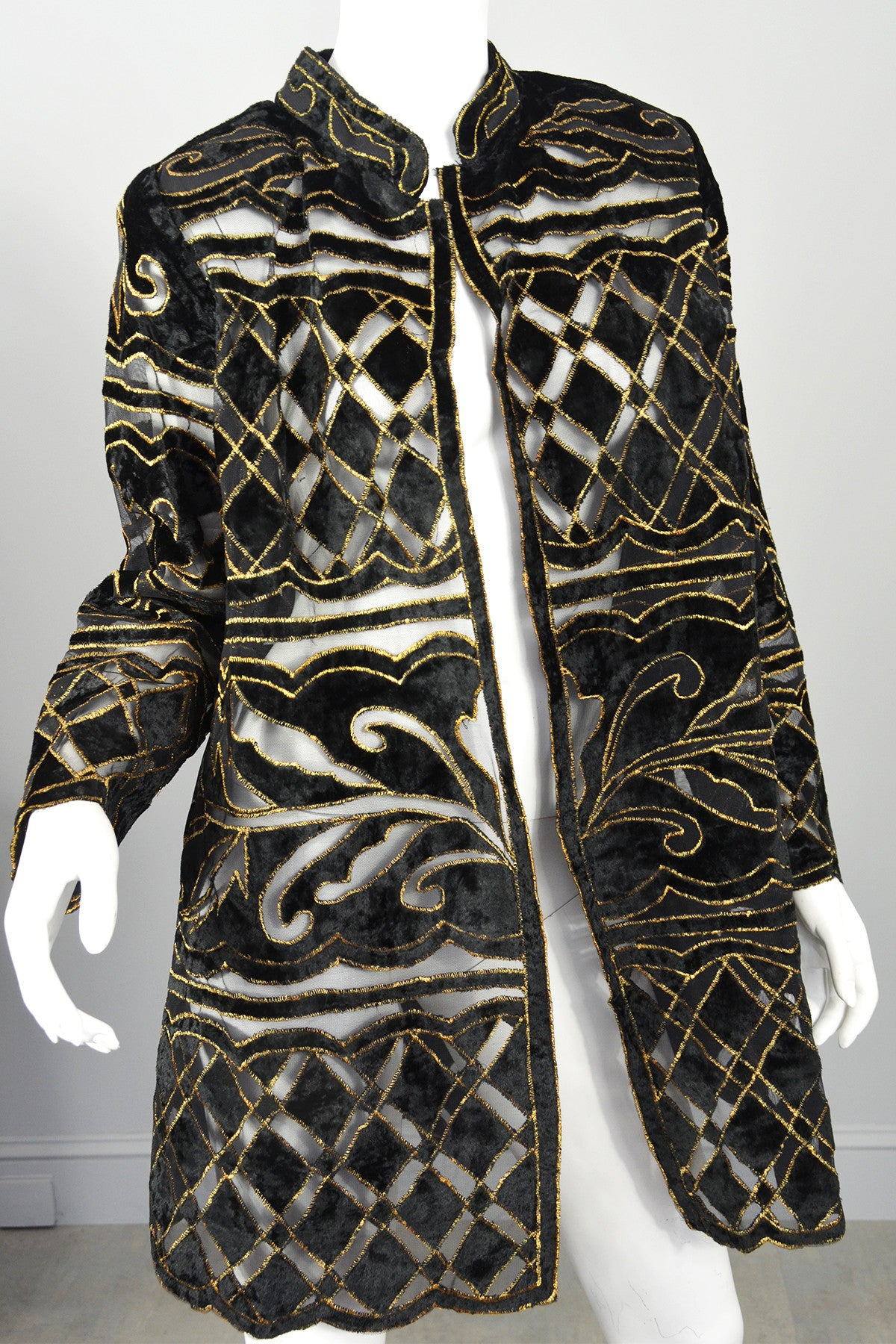 70s Deco Cut Velvet Gold Lame Evening Jacket Duster Swing Coat