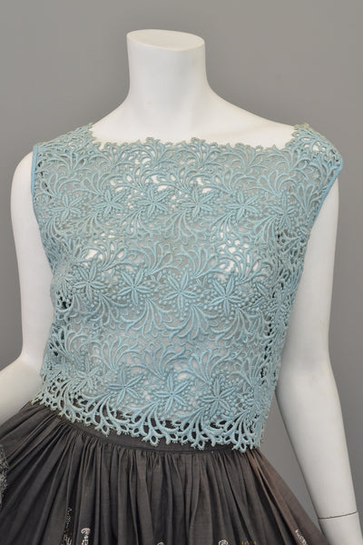 Dusty Light Blue Embroidered Lace Crop Top