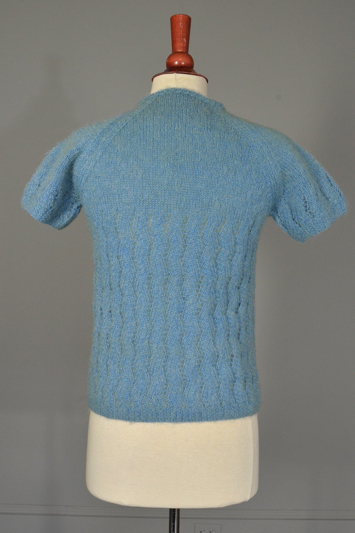 Dusty Blue Fuzzy Daisy Buttons Sweater