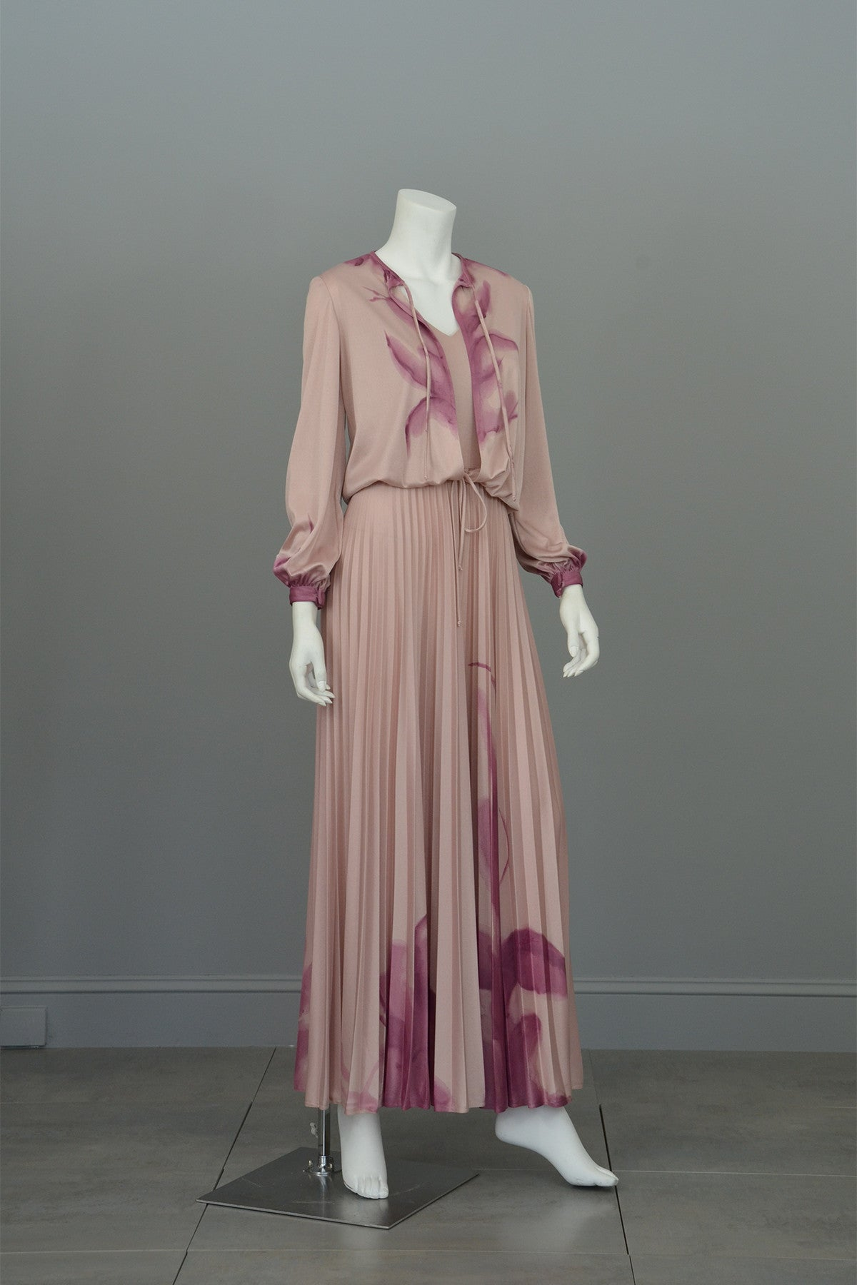 1970s Hand Dyed Pleated Vintage Disco Maxi Dress and Matching Shrug