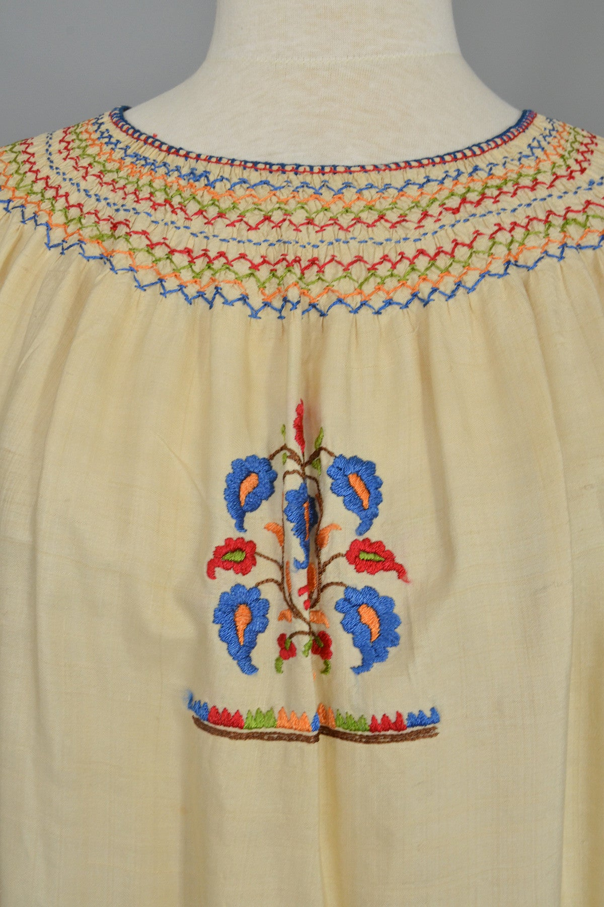Ecru with Red Blue Embroidered Florals Vintage Peasant Smock Top