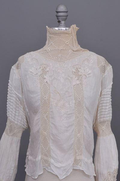 Edwardian Blouse | Crochet High Neck | Embroidered Crochet Bodice | Puff Sleeves