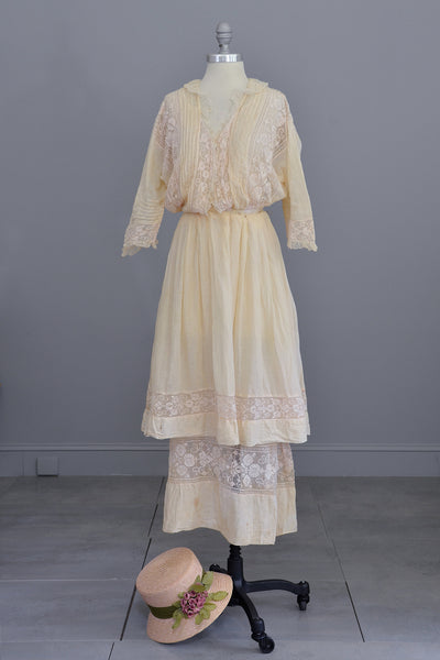 Edwardian Dress with Needlepoint Trim and Tiered Bell Skirt