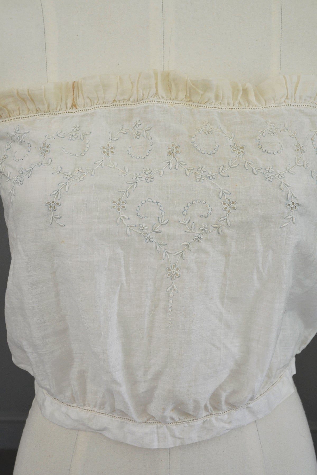Edwardian Sheer White Baby Blue Embroidered Camisole Corset Cover