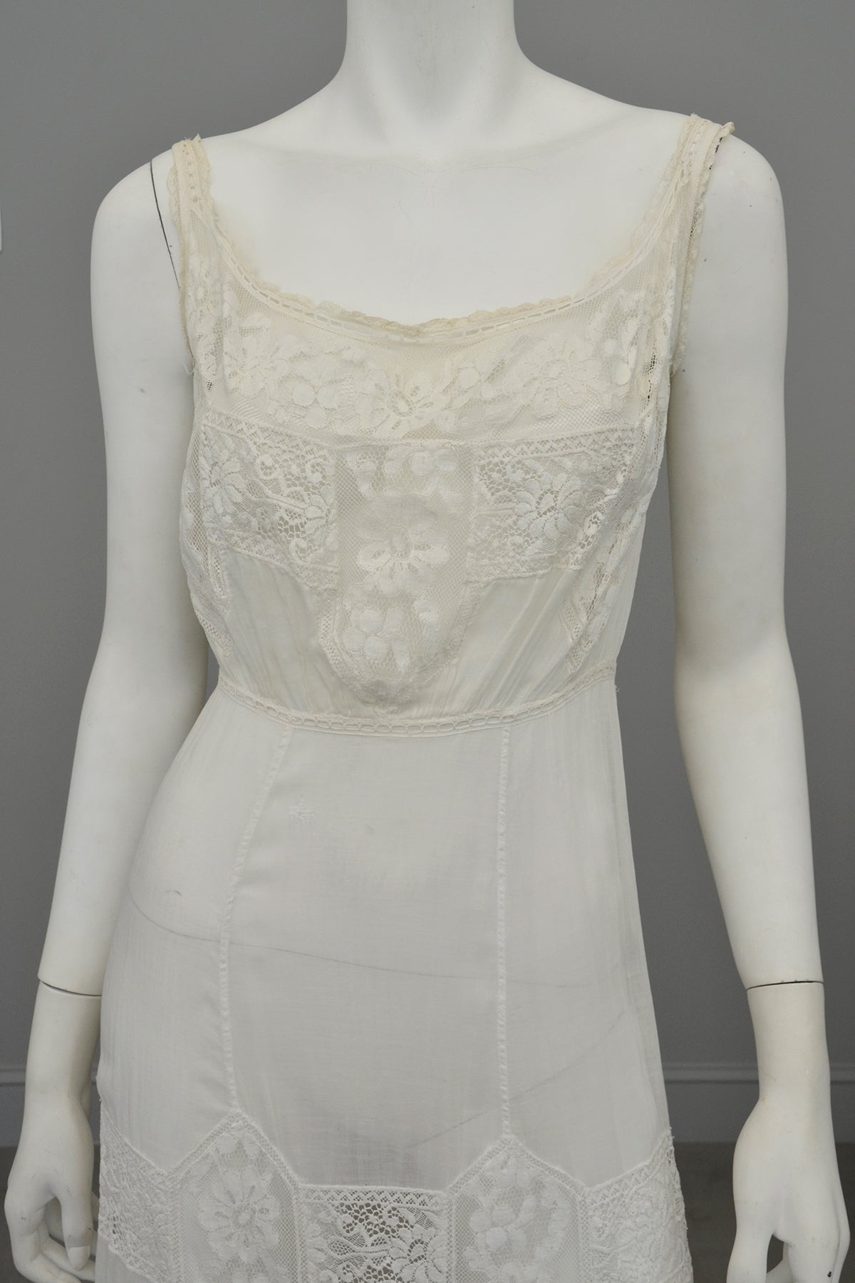 Romantic White Edwardian Lace Netting Delicate Slip Dress