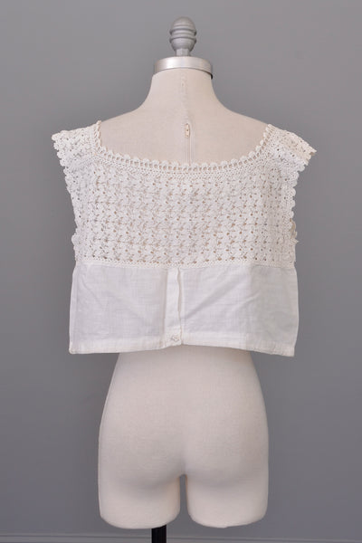 Vintage Edwardian White Crochet Crop Top