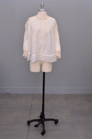 Edwardian White Blouse with Crochet and Embroidery | Restoration needed