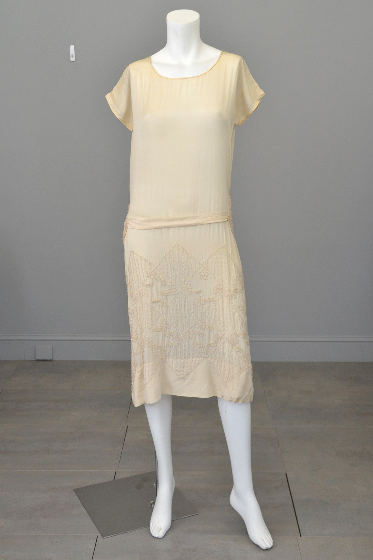 1920s Eggshell Deco Beaded Flapper Wedding Dress