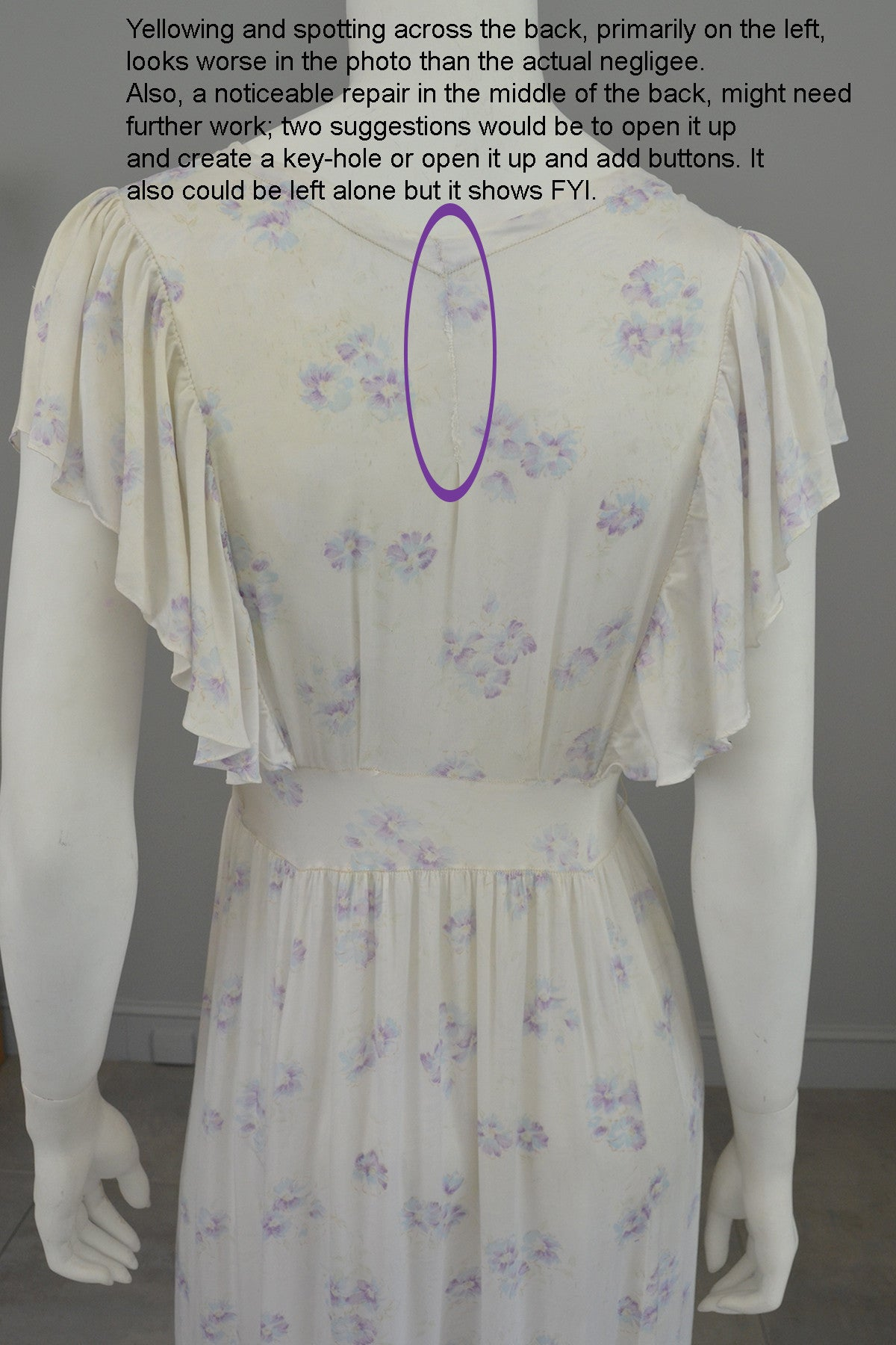 1930s Eggshell Silky Lilac Floral Print Smocked Flutter Sleeves Negligee Slip Dress