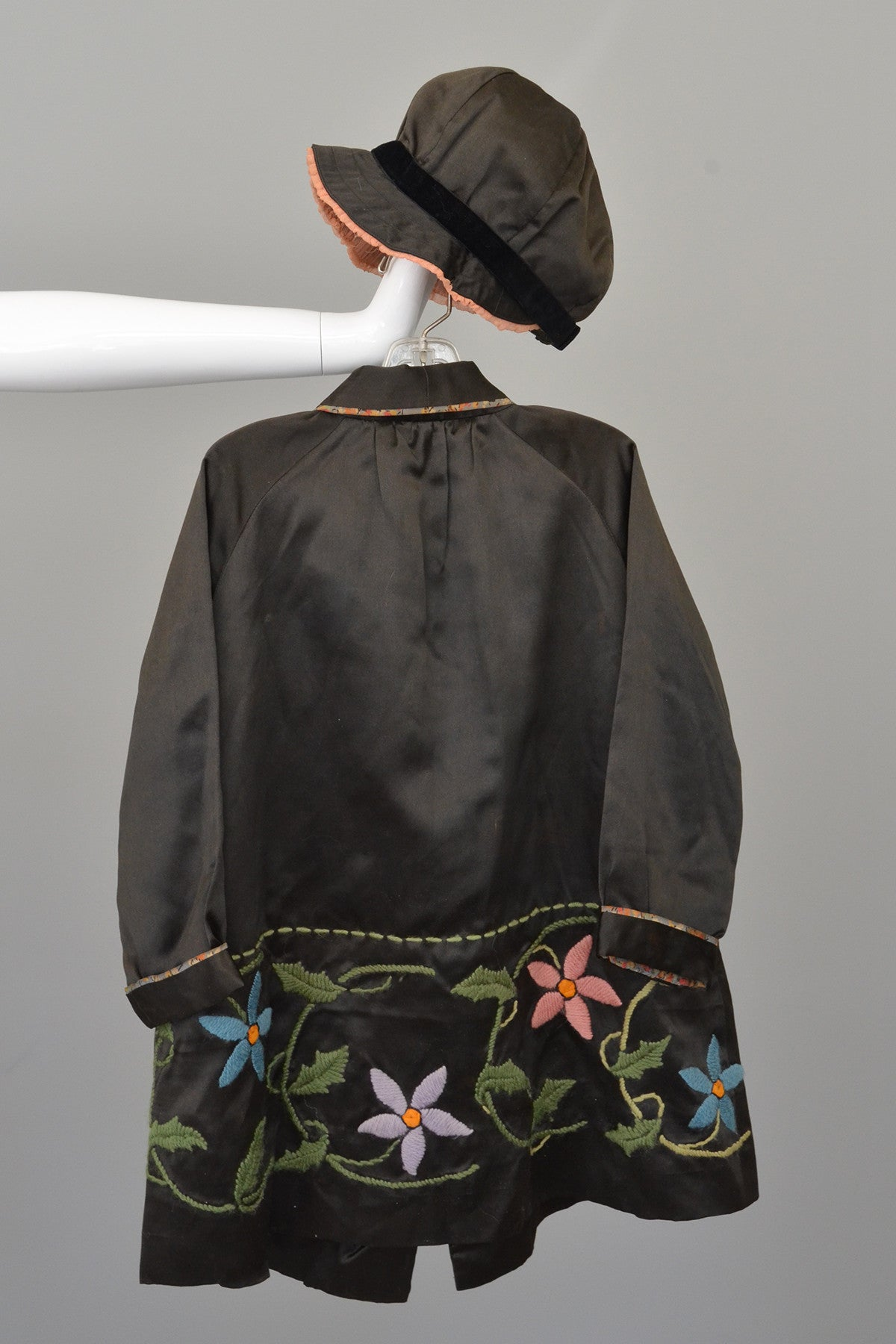 Embroidered Charcoal Satin Child's Flapper Coat and Cap