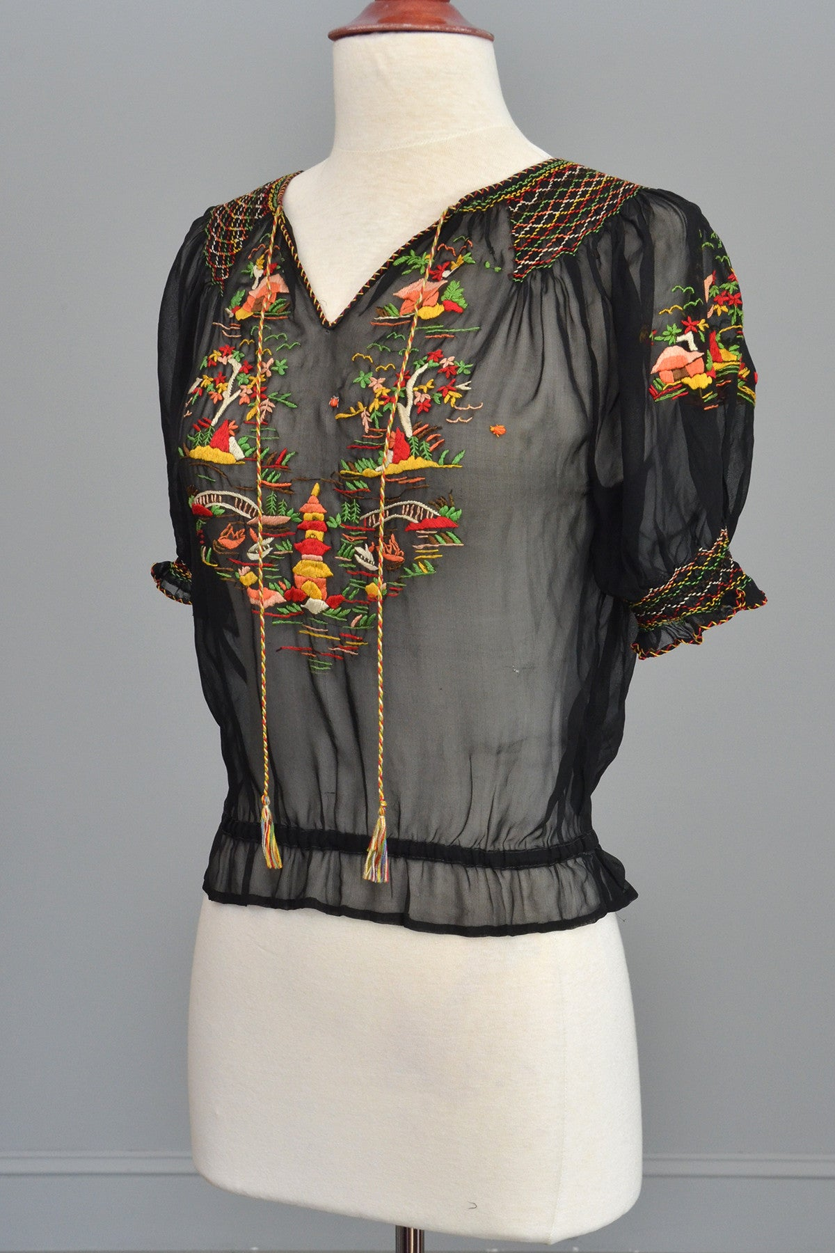Black Chiffon Pagoda Embroidered Peasant Top