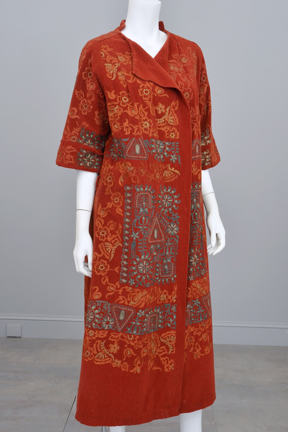 Aqua Embroidered Paprika Red Velveteen Corduroy Vintage Duster Coat