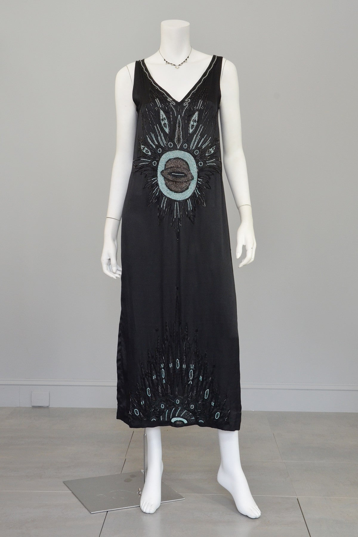 Eye of the Peacock Satin 1920s Deco Tabard Dress