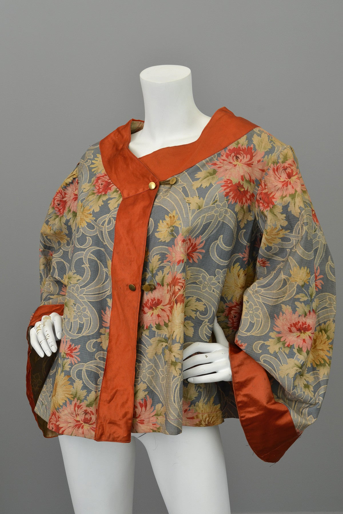 Edwardian Floral Print Angel Sleeve Crop Shrug Capelet Swing Coat