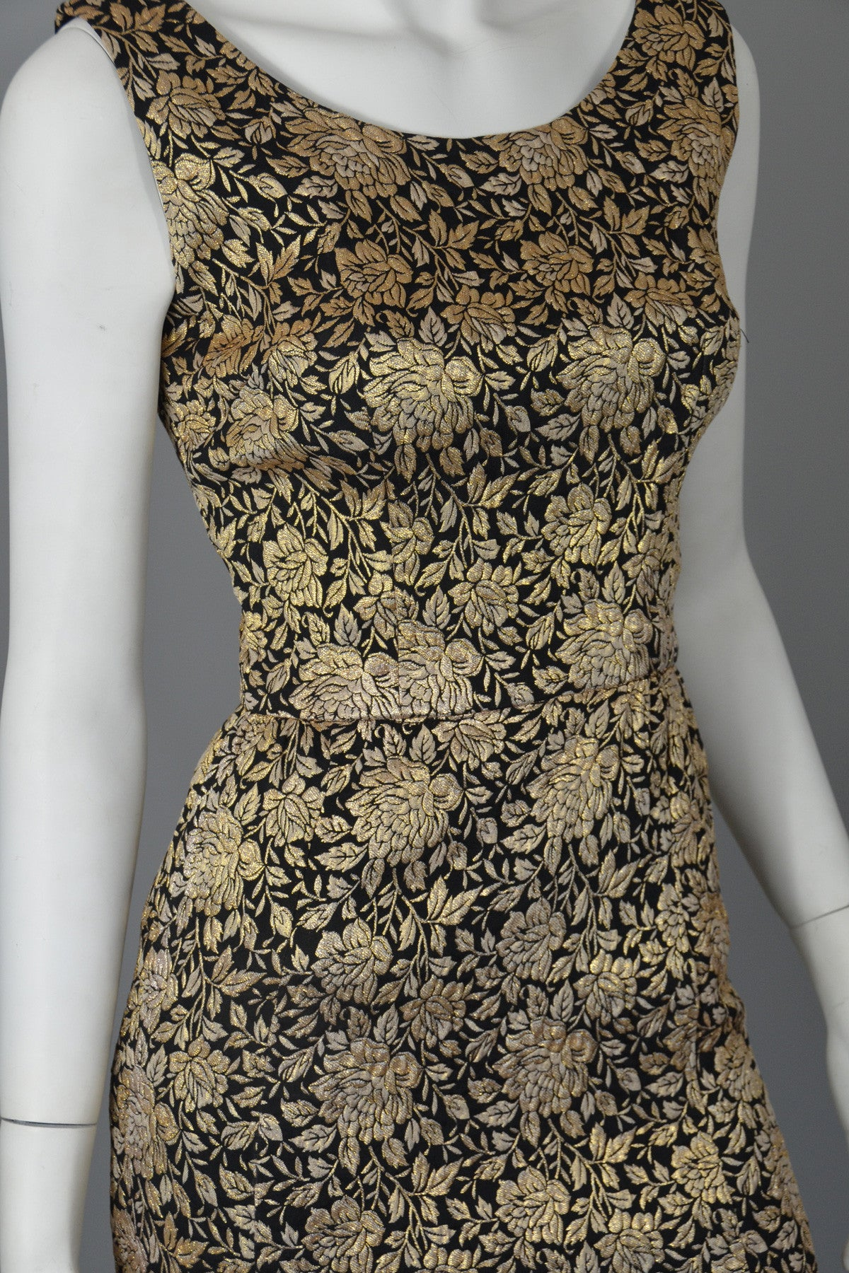 1960s Gold Brocade Vintage Cocktail Dress Wiggle Dress XS