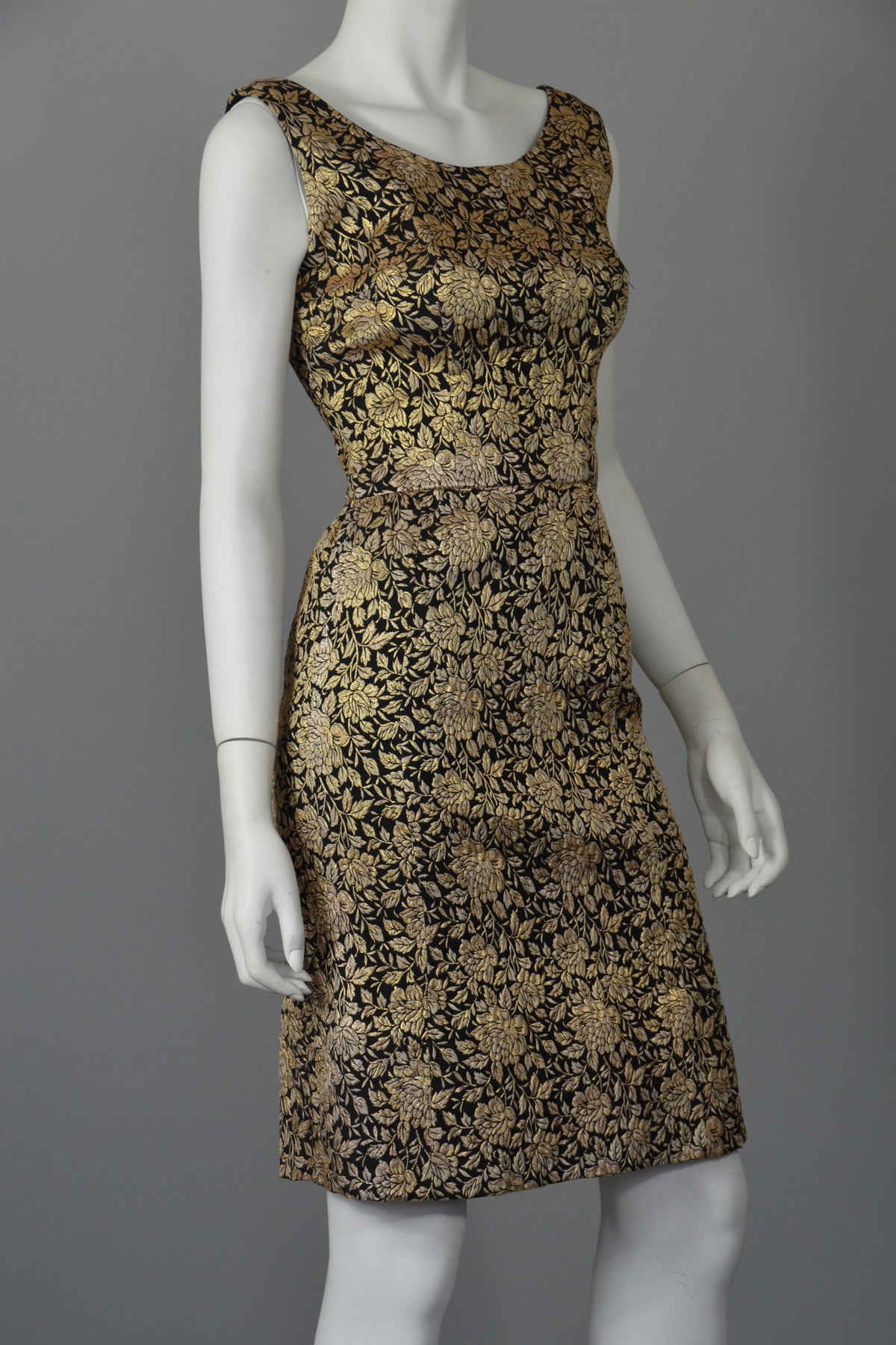 1960s Gold Brocade Vintage Cocktail Dress Wiggle Dress XS ...