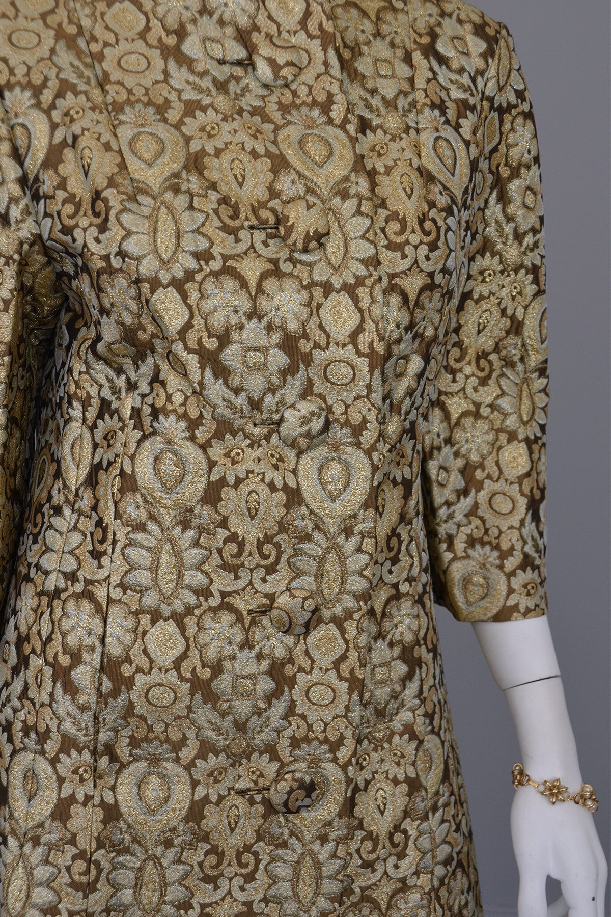 1960's Copper Bronze Brocade MOD Cocktail Evening Coat Mad Men, Size M/L