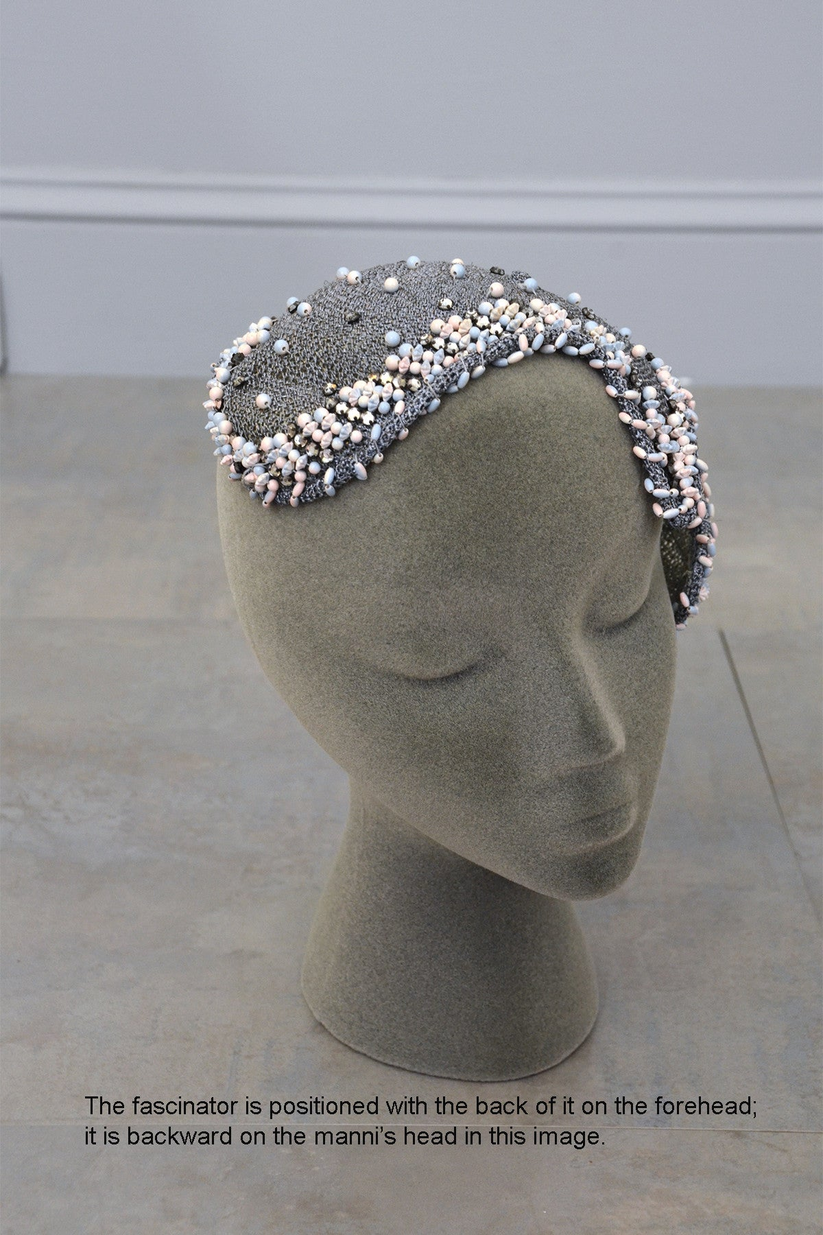 Grey woven and beaded vintage hat fascinator